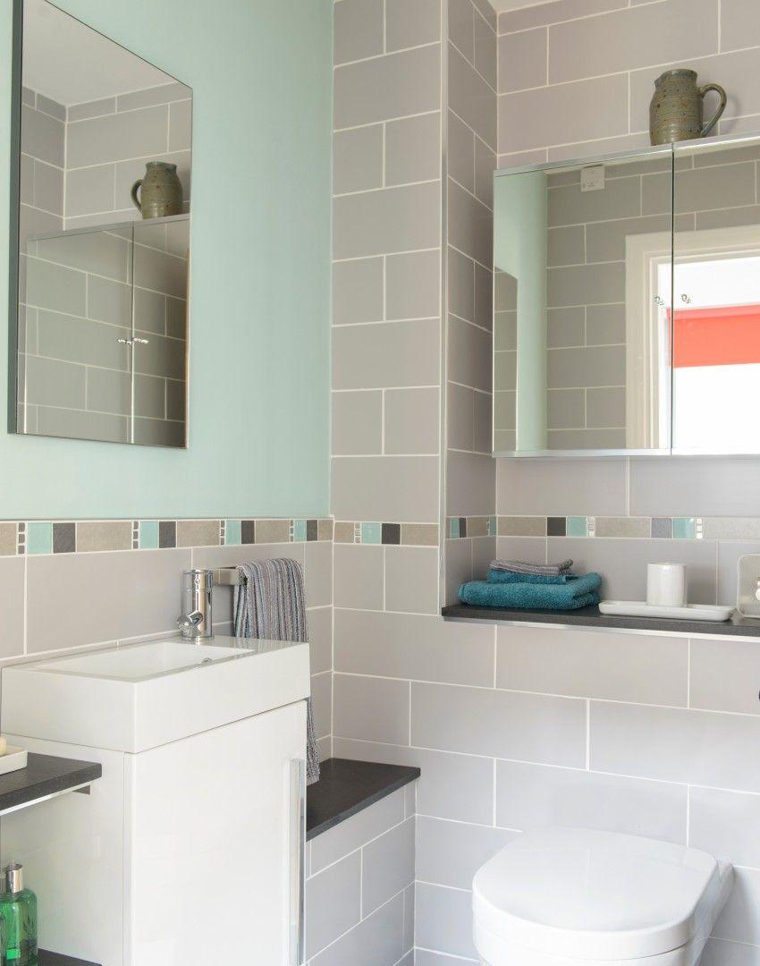 Grey And Teal Modern Bathroom