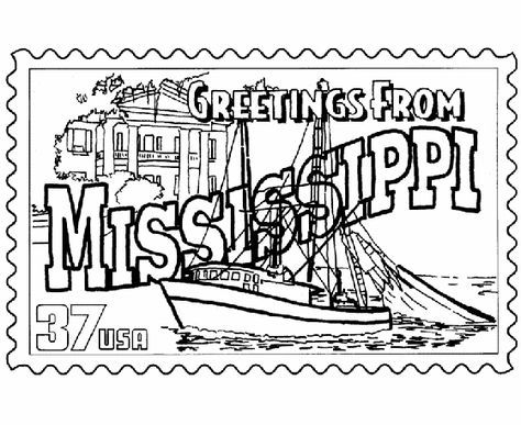Mississippi State Stamp Coloring Page Mississippi History U S