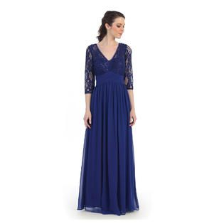 844172bfae Belle Maids Long Lace and Chiffon Mother of the Bride Dress ...