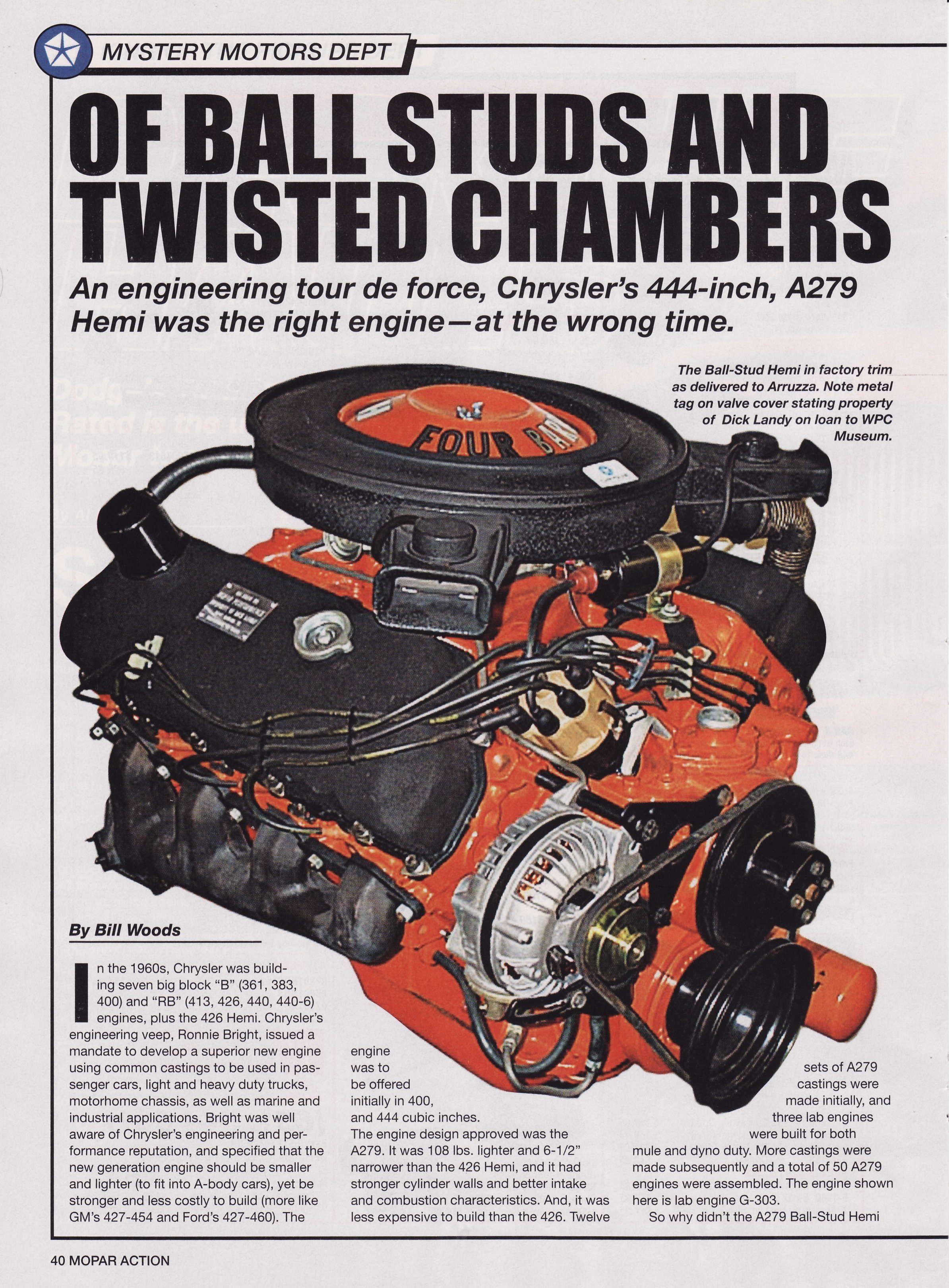 Chrysler's Ball-Stud Hemi V-8 - Page 1 | Dodge Demon's | Hemi engine