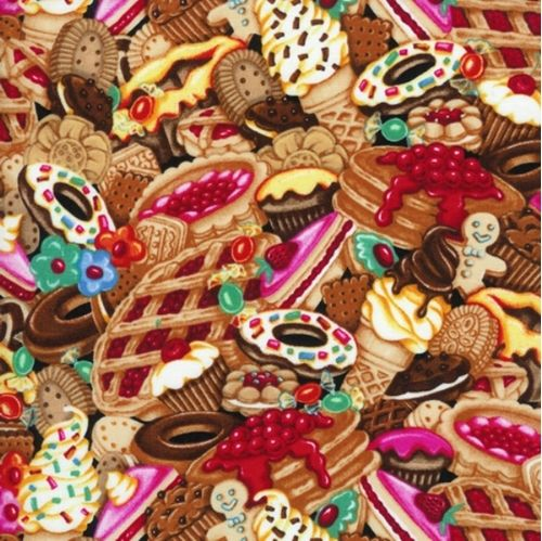 Pancakes, Pies, Cookies and Desserts Cotton Fabric
