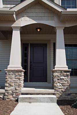 Craftsman Style Pillars To Hold Up Deck Facing Water Sagewood Ledgestone From Www Dutchqualitystone Com Craftsman Bungalows Craftsman House Porch Remodel