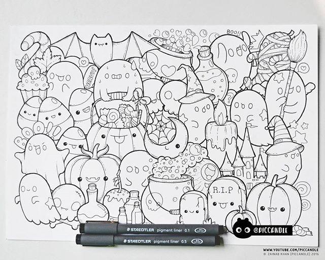 Inktober Day 19 Halloween Inktober2016 Doodle Coloring Page Doodle Coloring Doodle Drawings Halloween Doodle