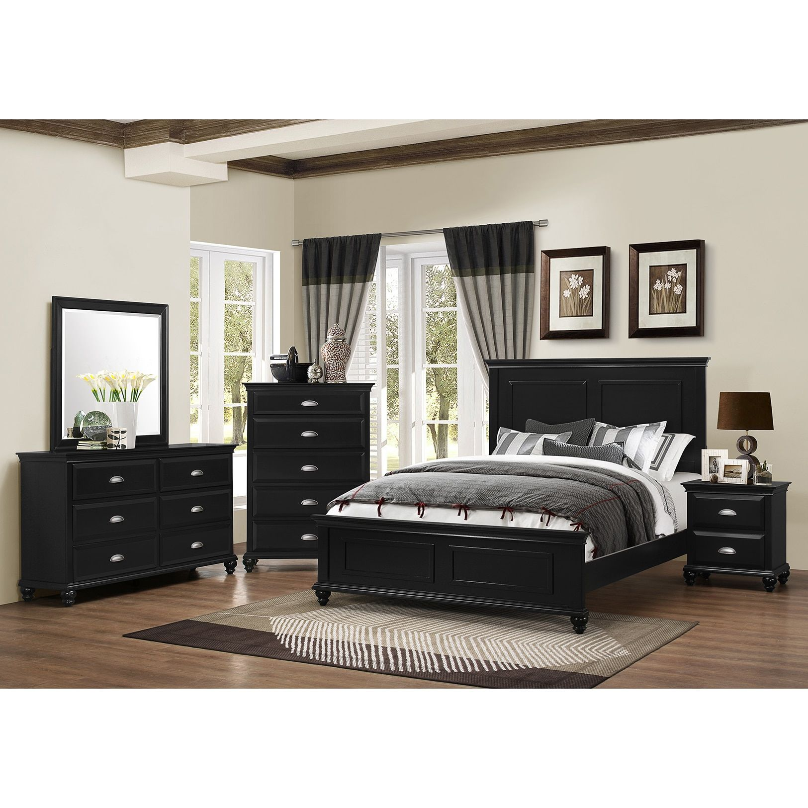 Havenside Home Ocean Shores 3 Piece Queen King Bedroom Set (Black