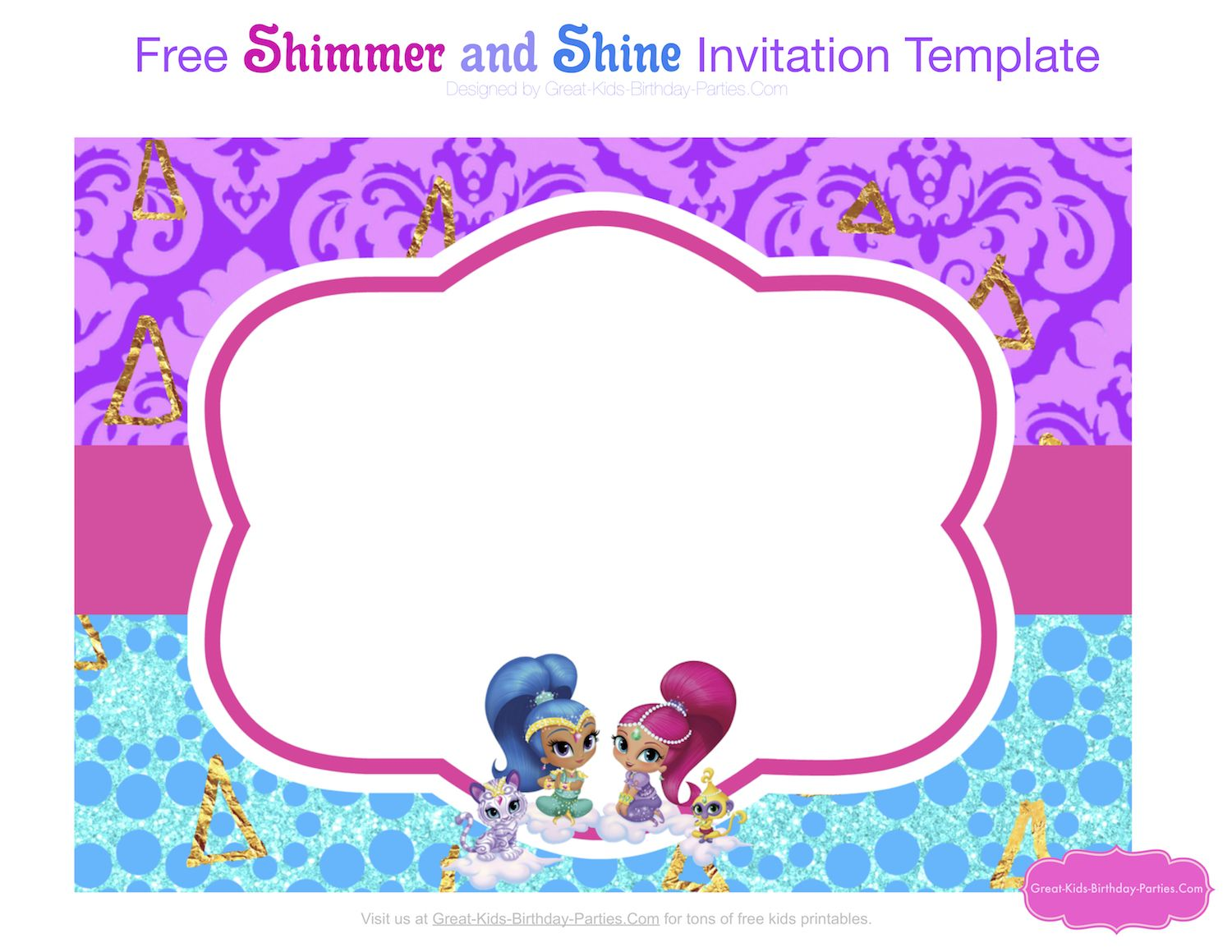 Shimmer And Shine Party Shimmer N Shine Birthday Template Shimmer Shine Cake