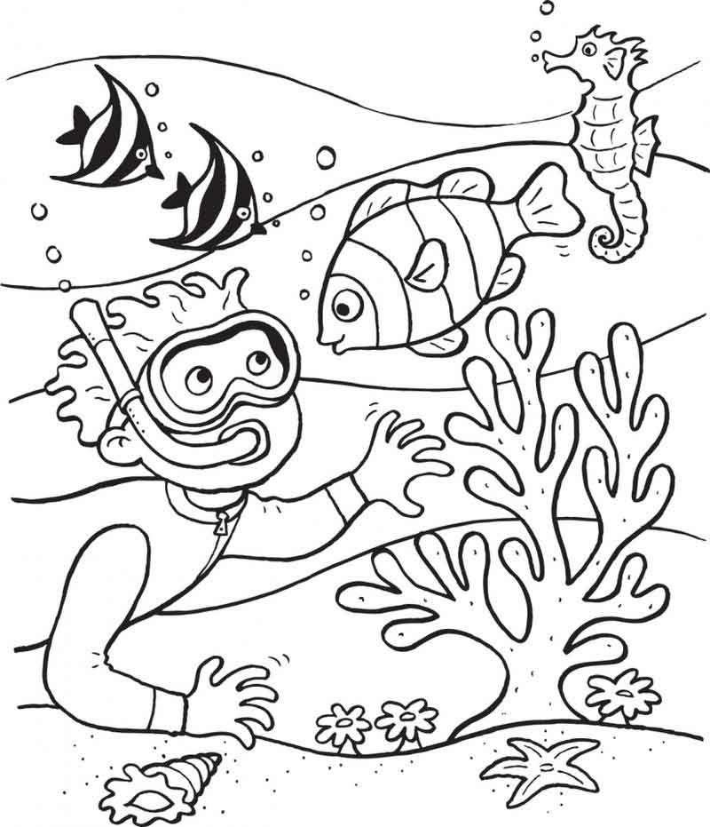 Scuba Diving Ocean Coloring Page Di 2020