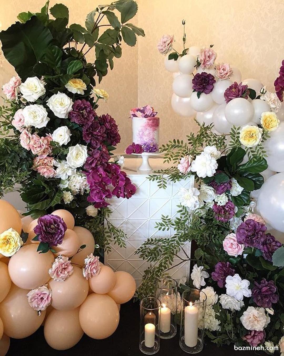 گل آرایی بادکنک آرایی و شمع آرایی شیک جشن تولد بزرگسال یا نامزدی با تم گلبهی بنفش Party Dessert Table Iranian Wedding Floral Wreath