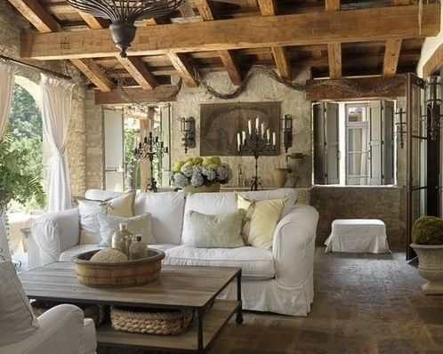 Farmhouse living room decorating with white sofa and vintage ...