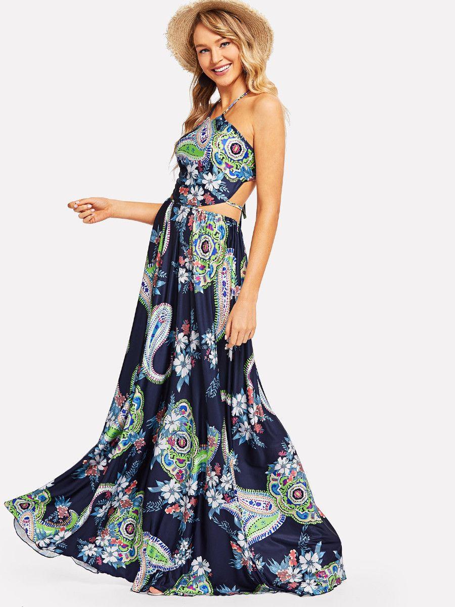 Cutout Halter Neck Floral Dress Shein Sheinside Dresses Floral Dress Floral Fit