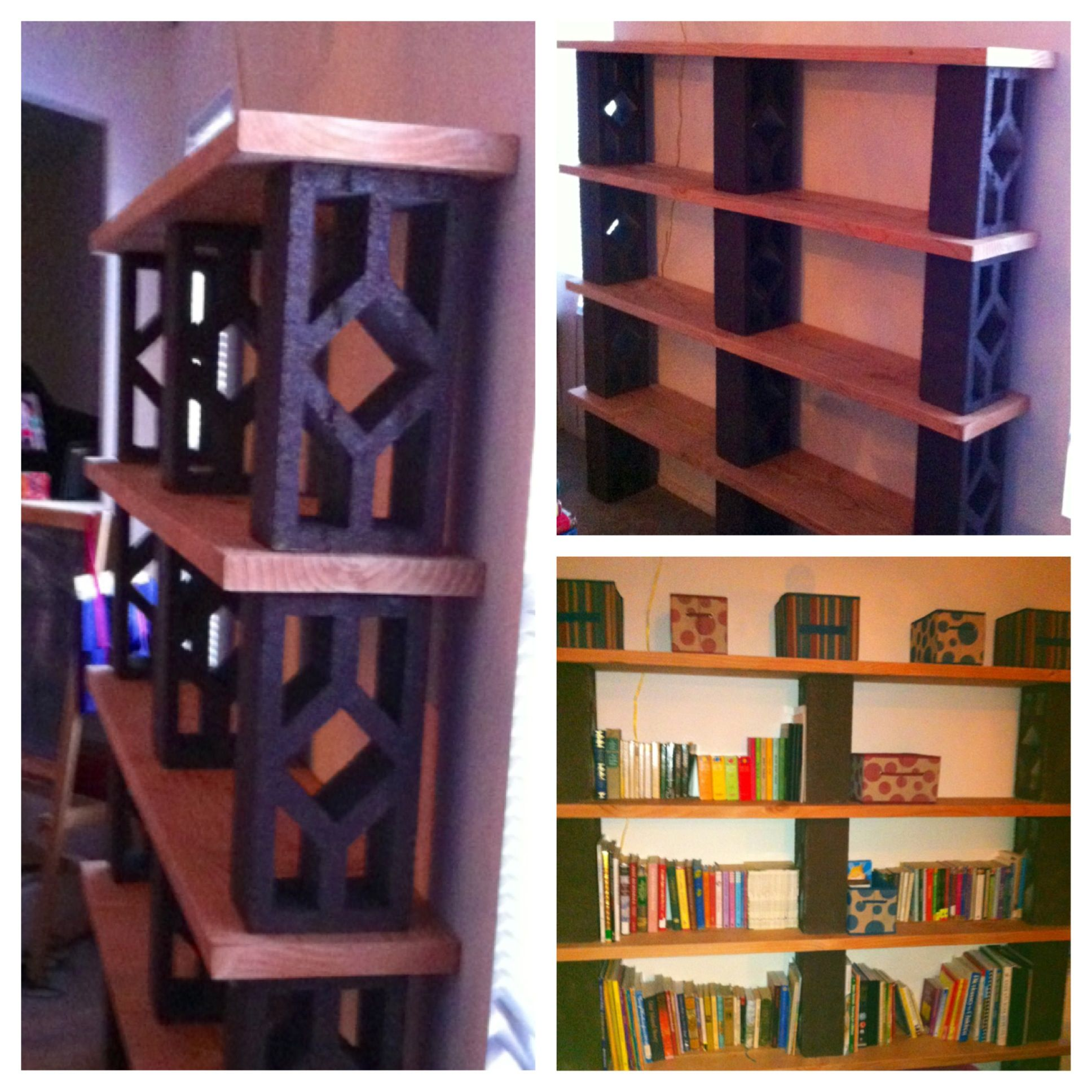 Cinder Block Wood Bookshelf Blocks Spray Paint Wood