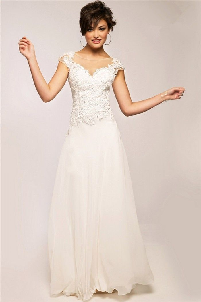 sheath sheer neckline v back cap sleeve white chiffon lace beaded