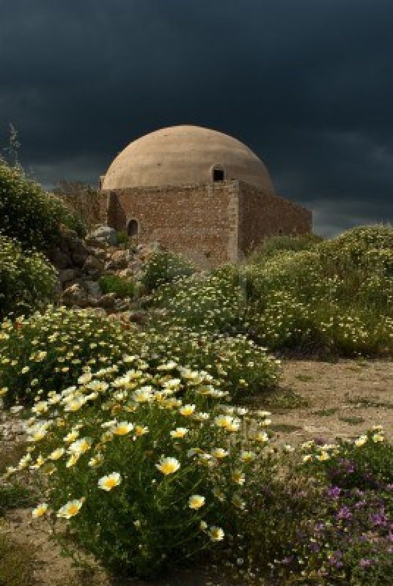 The Ibrahim Han Masjid in Rethymno placed in the middle of the Venetian Fortezza - Crete, Greece.