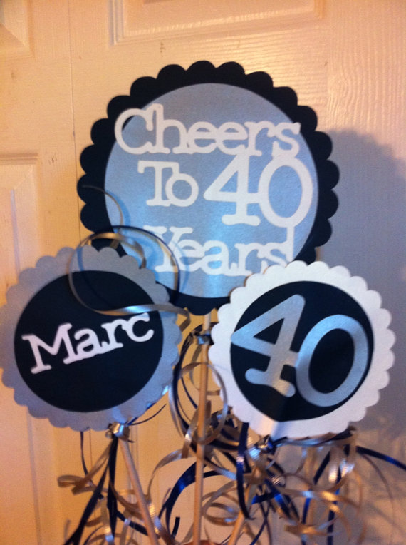 40th Birthday Decorations 3 Piece Centerpiece Sign Set With Personalized Text Featured