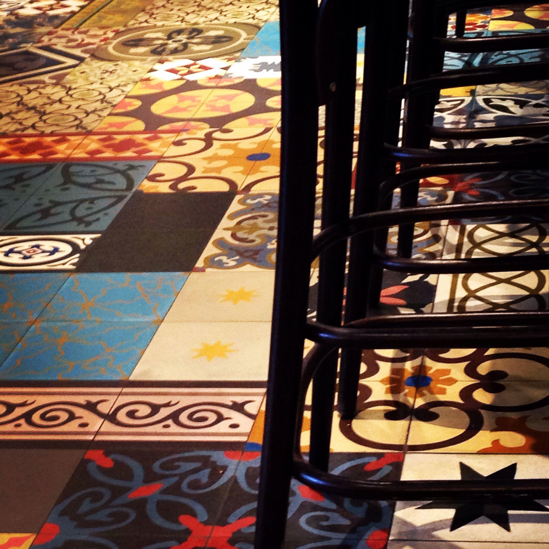 mediterranean tiles in a london cafe, beautiful interior design