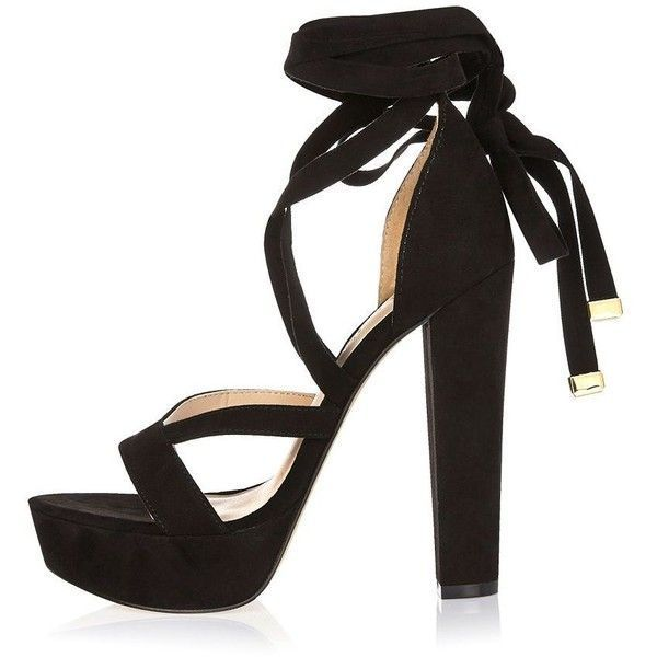 fa4a48e42b3f River Island Black tie-up platform heels ( 110) ❤ liked on Polyvore  featuring