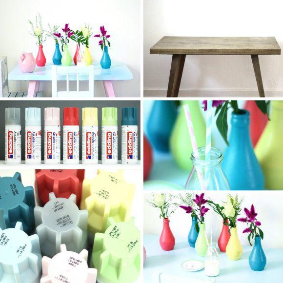 colorful glass bottle DIY via ♥ titatoni