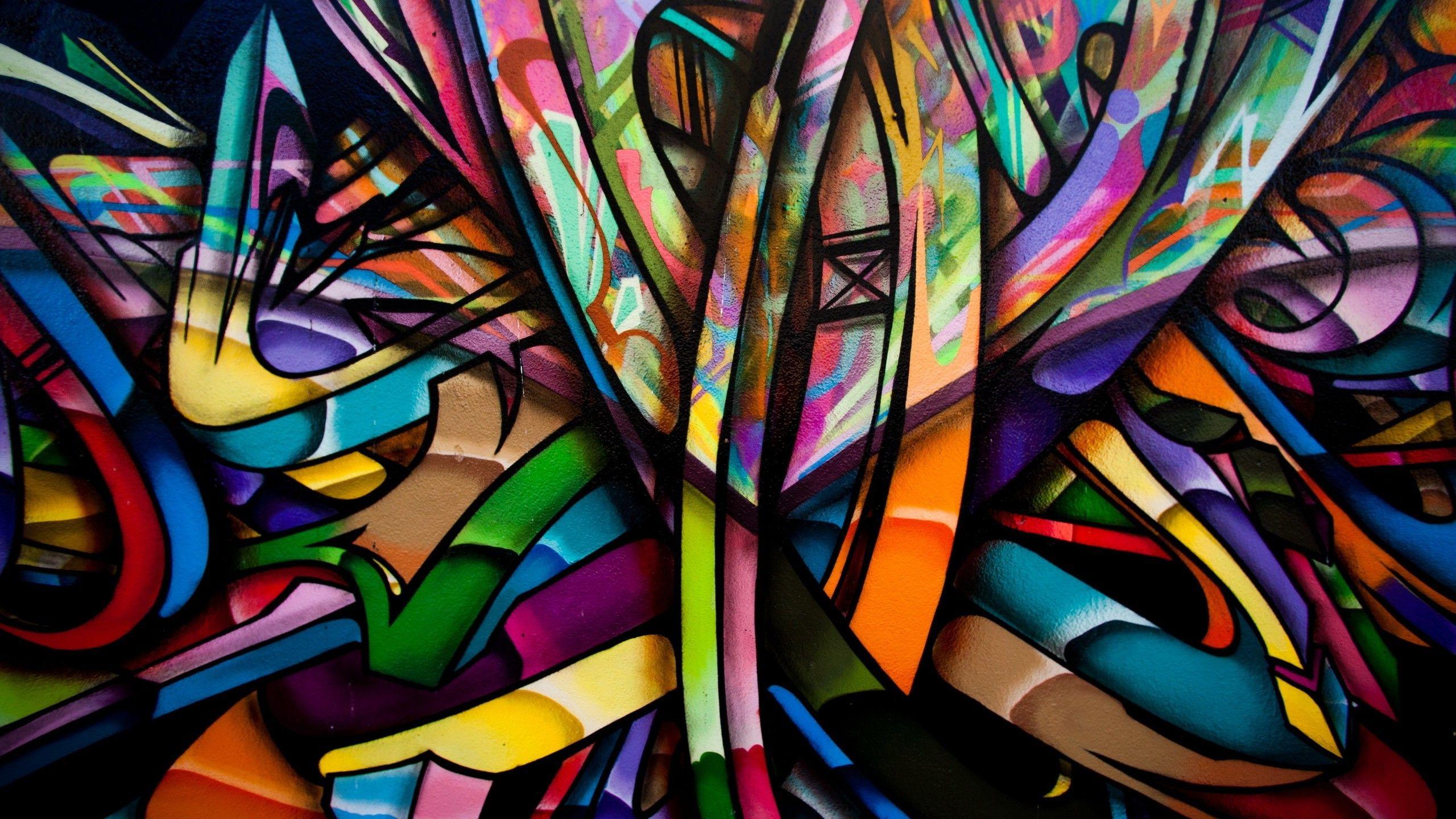 abstract colorful graffiti walls artwork painting