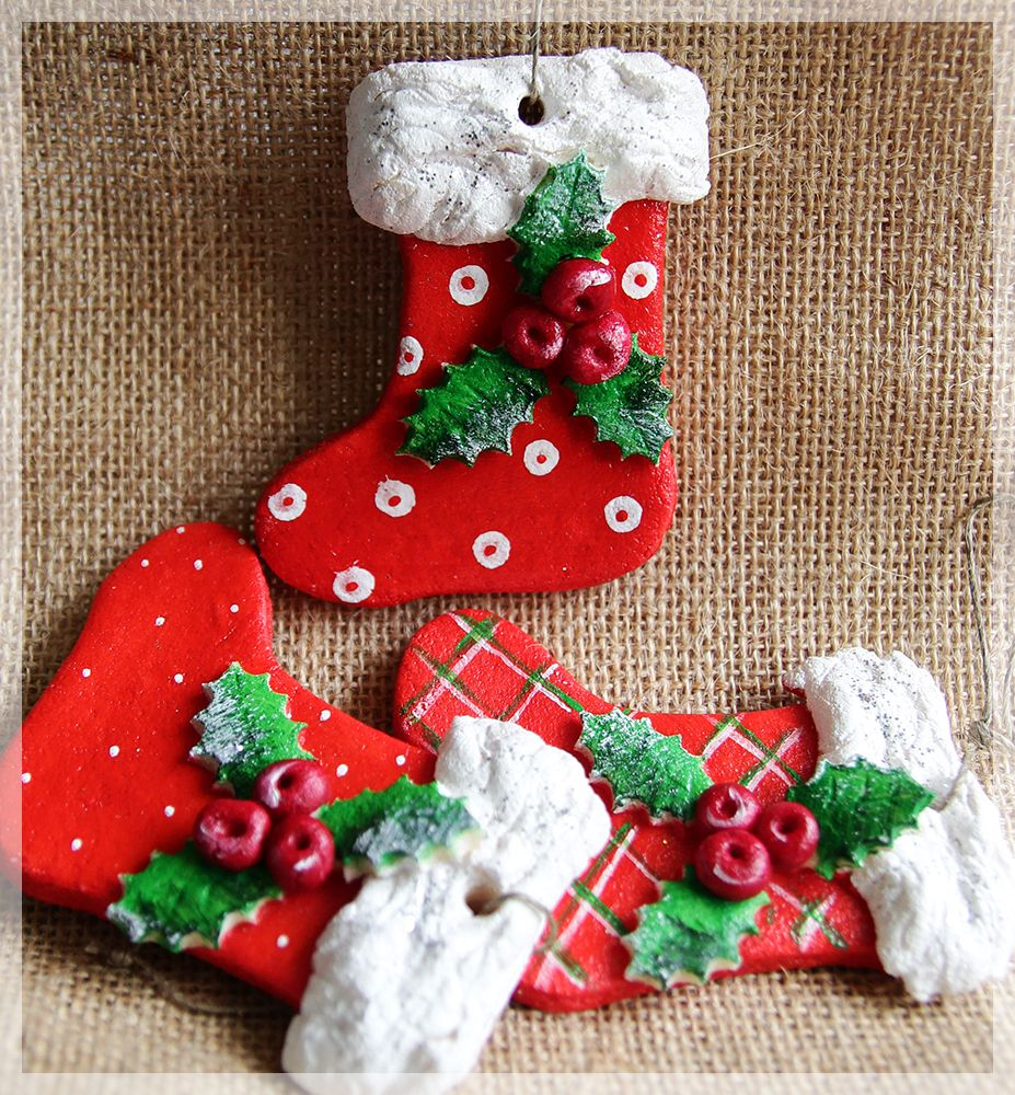 Salt Dough Stockings Salt Dough Christmas Ornaments Dough Ornaments Salt Dough Christmas Decorations