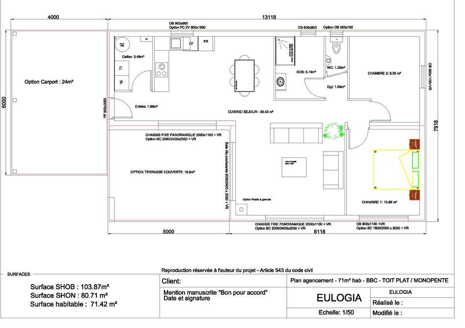 Assez Maison ossature bois contemporaine T4 - Plain pied - 71m2 | Cabin  TZ95