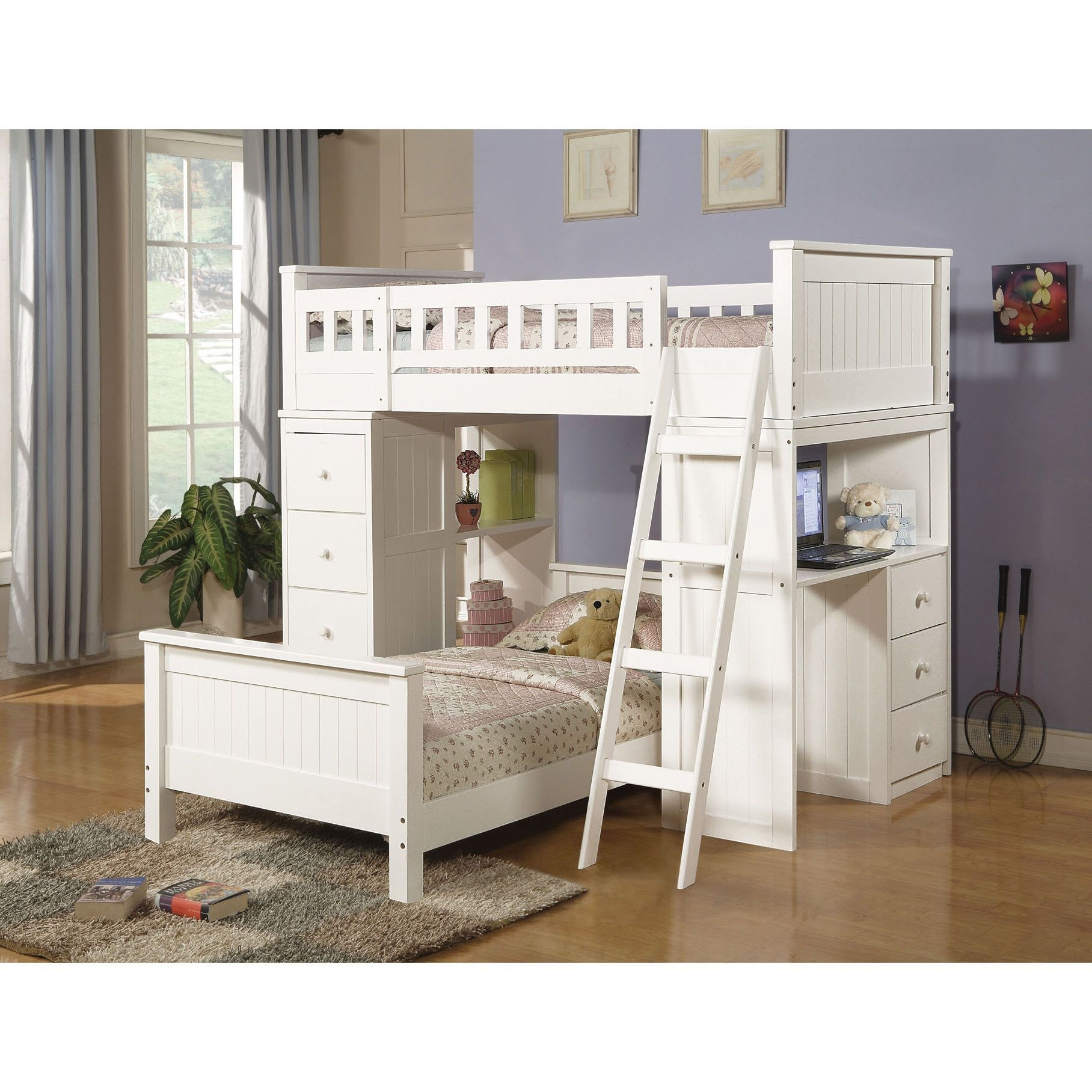 Acme Willoughby White Twin Loft Bed (white finish, 76x42