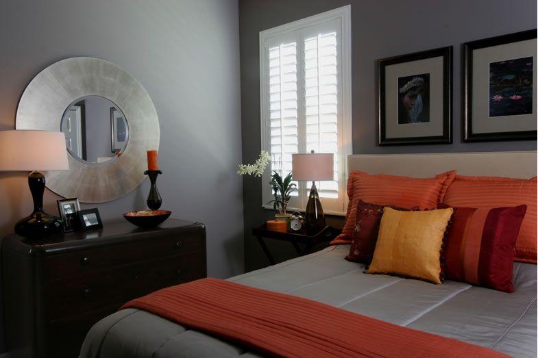 Grey and orange bedroom