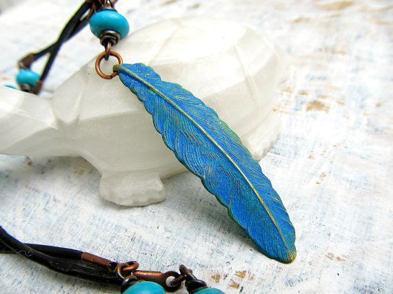 CIJ Sale Metal Feather Necklace Feather Jewelry Turquoise Patina Christmas in July Sale. $35.00, via Etsy.
