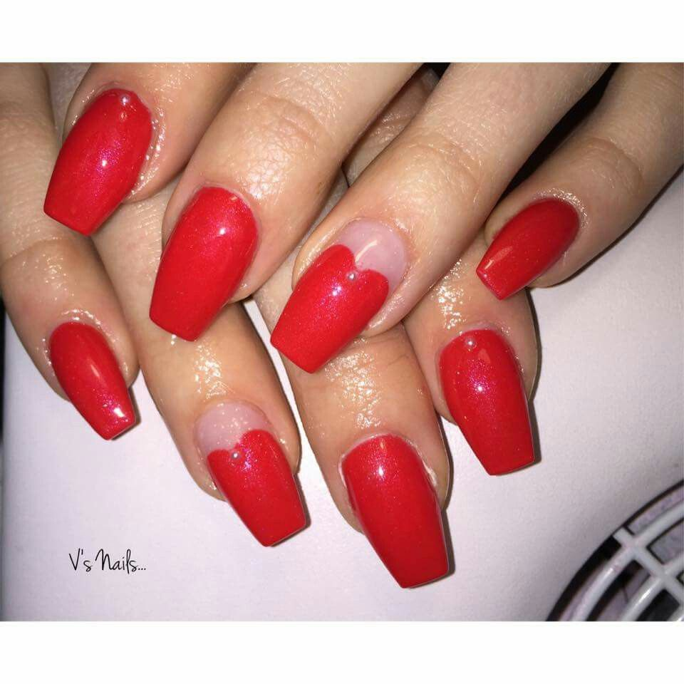 #nails #rednails #heart #me #loveit
