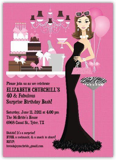 elizabeth s 40th birthday party invitation cake   40th party, Birthday invitations