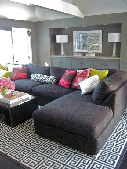 I Love This Whole Room Especially The Grey Couch With Pops Of Color In The Pillows Grey Sectional Sofa Home Living Room Home Decor