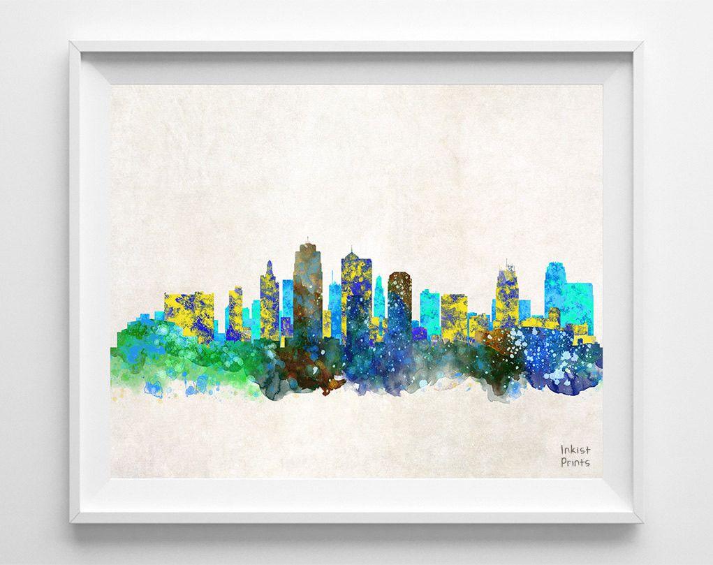 Kansas city missouri skyline watercolor print kansas