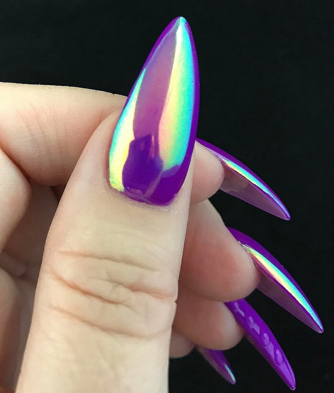17 nail purple art design example new photo