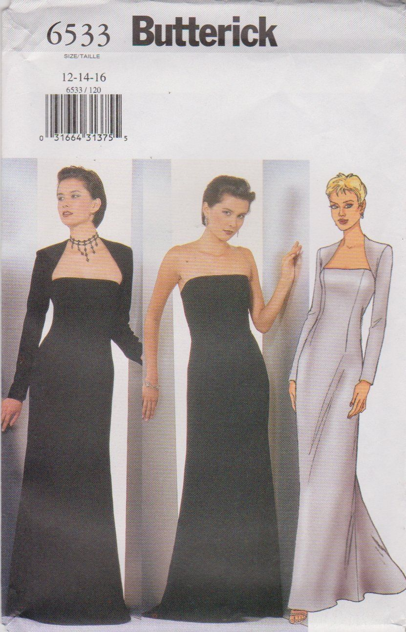 Butterick sewing pattern 6533 misses size 12 14 16 evening gown butterick sewing pattern 6533 misses size evening gown formal strapless long dress shrug ombrellifo Gallery