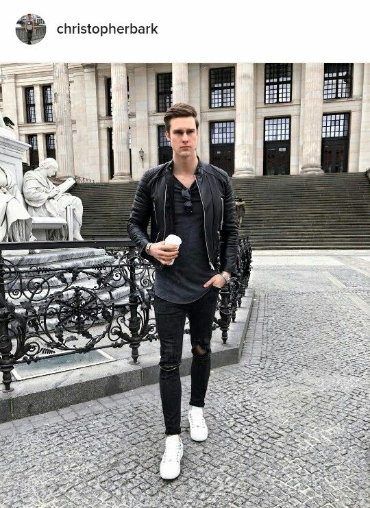 Black Boots Instead Of The White Shoes Mens Fashion Casual Leather Jacket Outfit Men Mens Outfits
