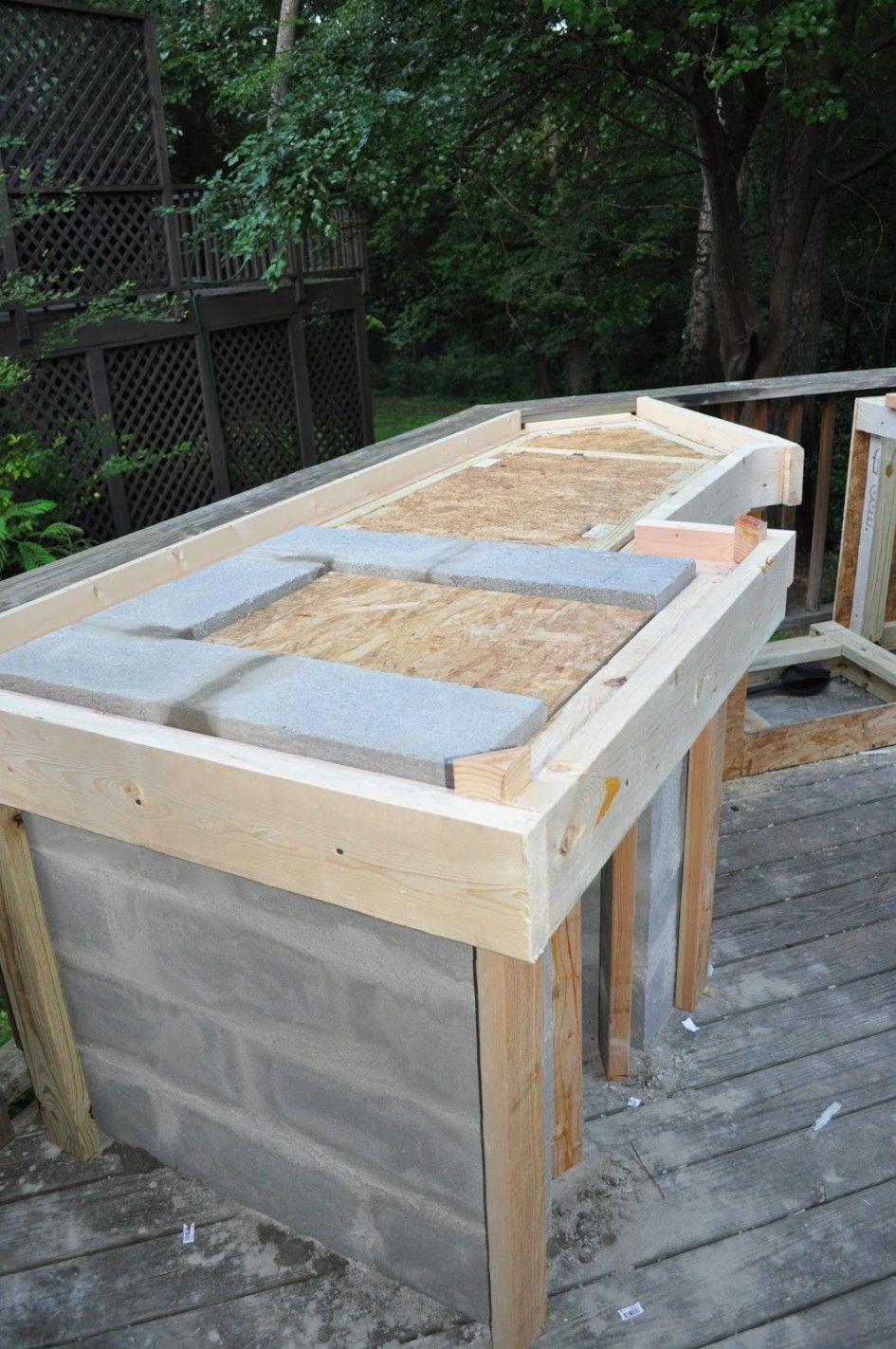 Wonderful Outdoor Kitchen Cinder Block Frame With Granite Tile For