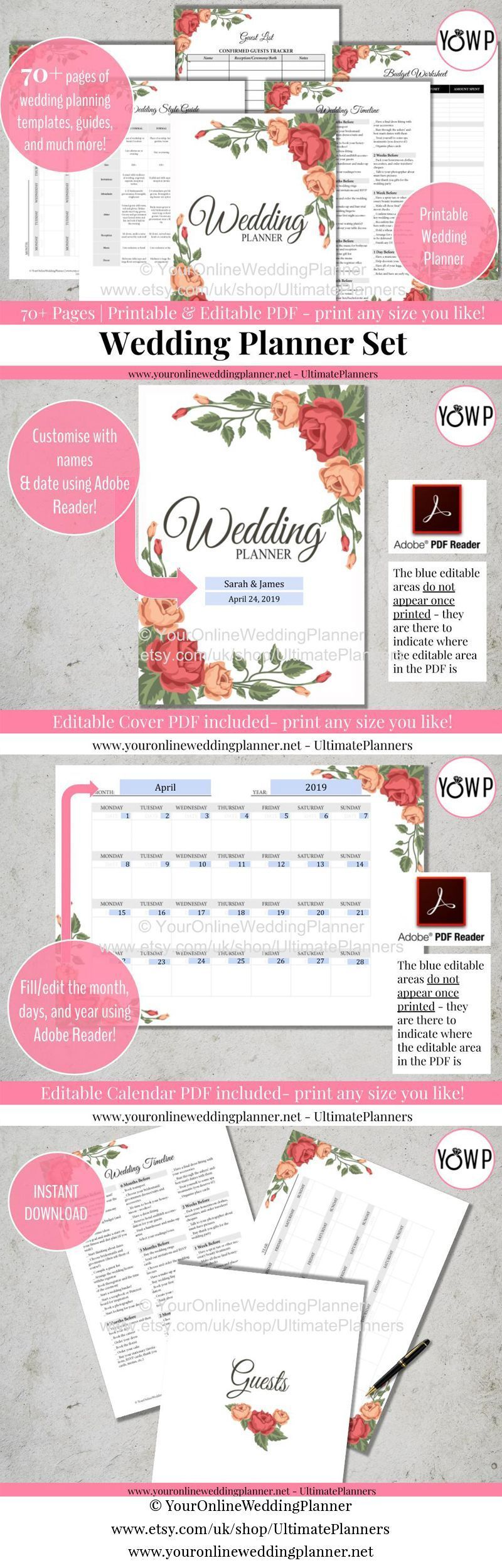 editable printable wedding planner set editable cover editable
