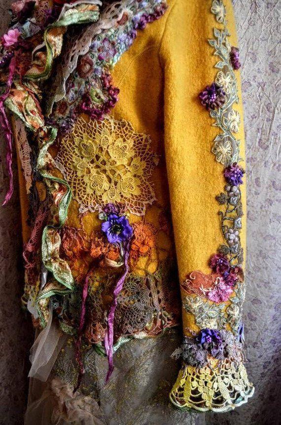 Rekonstruierte Herbst überarbeitete modifizierte Couture-Herbstjacke Etsy #wearableart