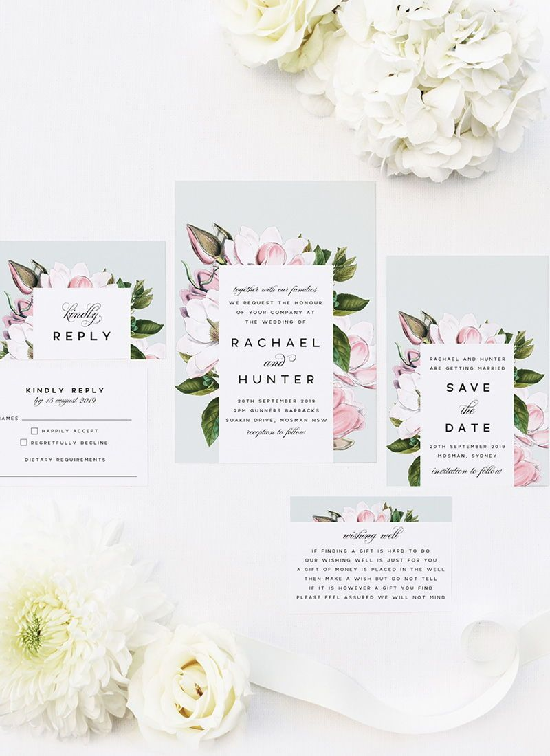 Elegant Magnolia Flower Wedding Invitations Magnolia Petals And Leaves In 2020 Botanical Wedding Invitations Wedding Invitations Botanical Wedding Theme