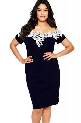 Lace Crochet Off Shoulder Blue Plus Size Pencil Dress - Mycelebritylooks