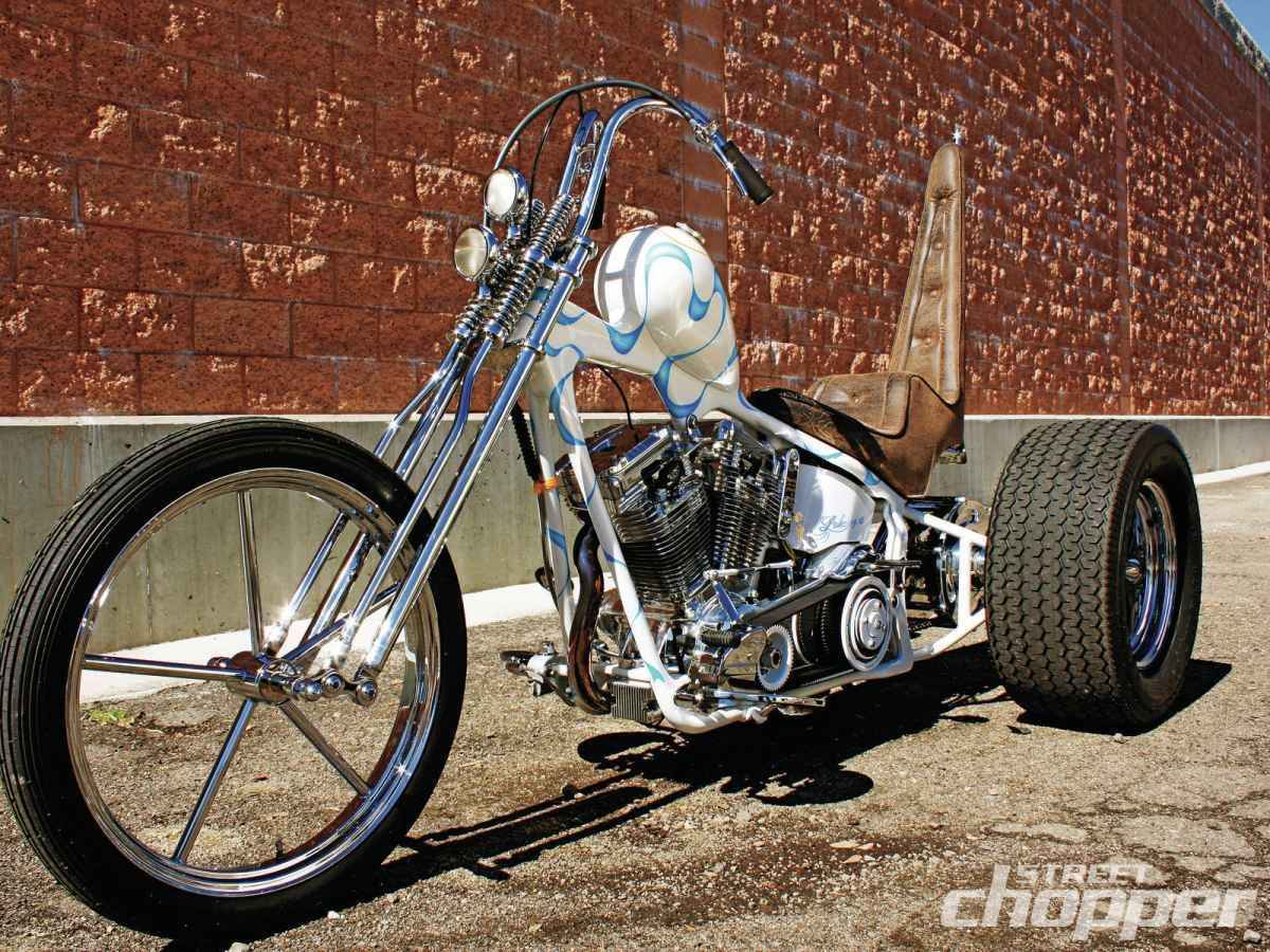Evo big twin 70s style softail trike with differential rear end spool invader front harley davidson