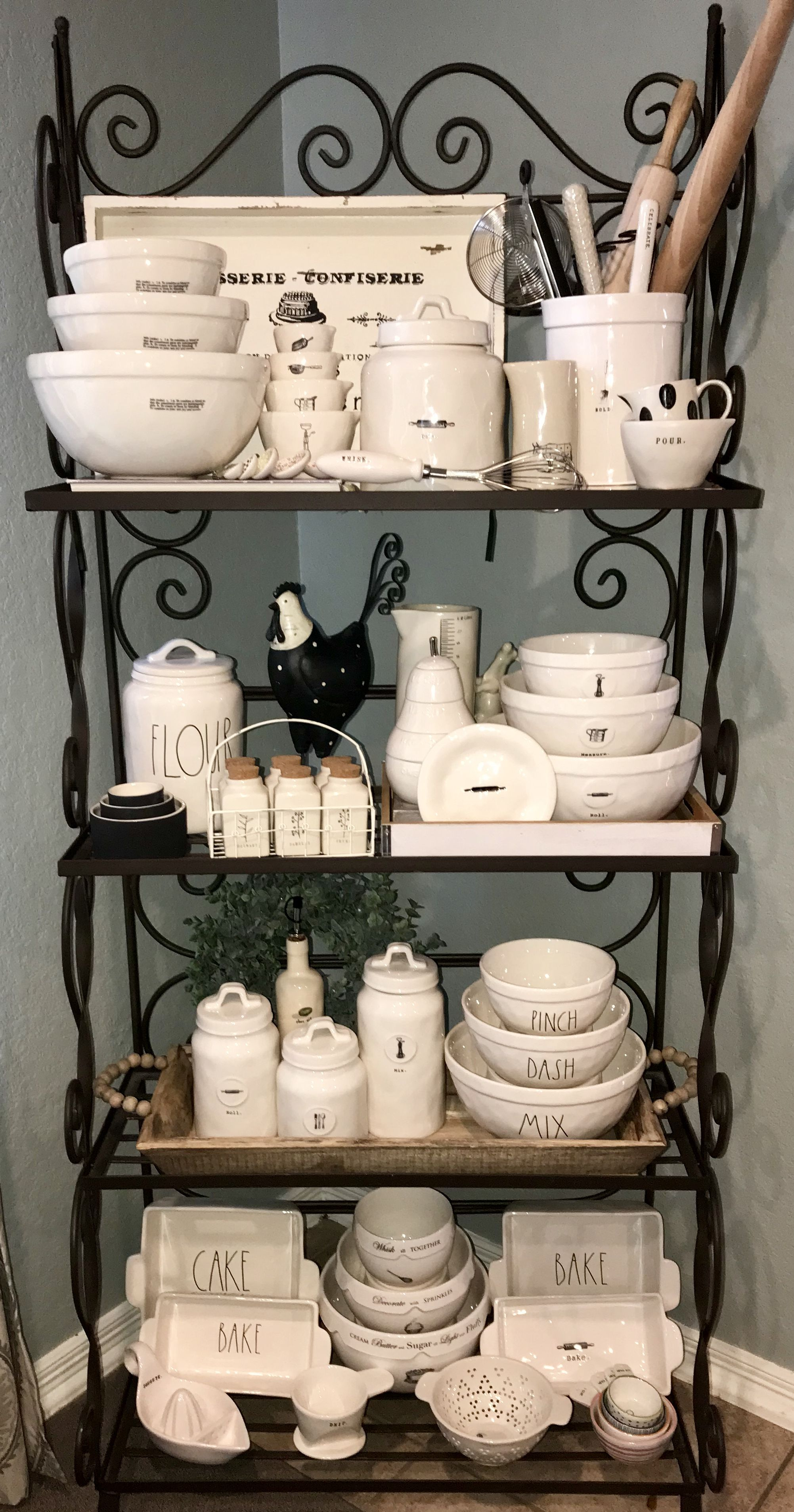 My Rae Dunn Baker S Rack March 2018 In 2019 Bakers Rack