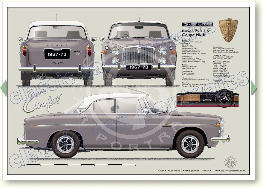 Rover P5B Coupe 1967-73 classic car portrait print