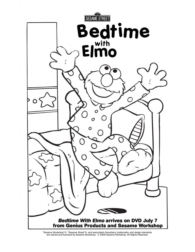 Free coloring pages elmo - Elmo Bedtime Coloring Page