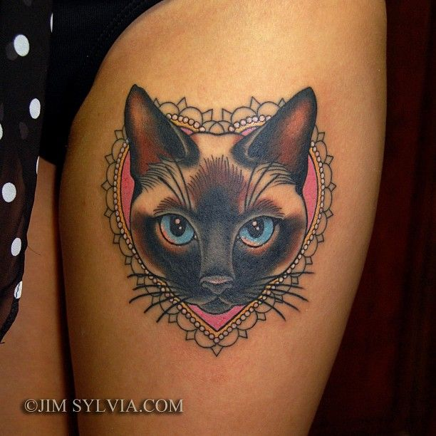 siamese cat tattoo by jim sylvia i may get something like this for rh pinterest nz siamese cat tattoo siamese cat tattoo ideas