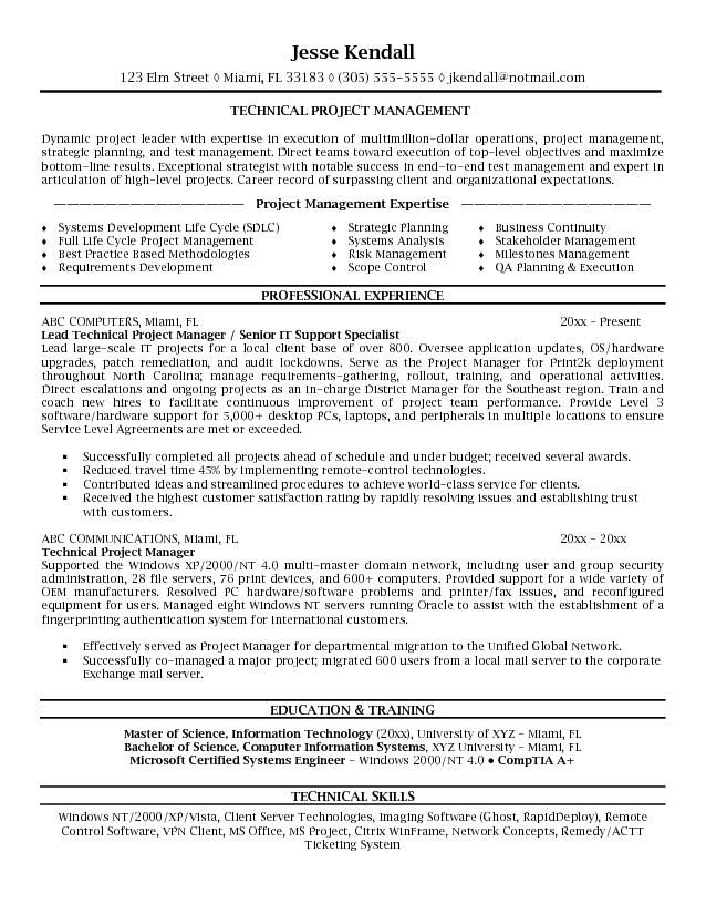 Resume Templates Project Manager Example Technical Project