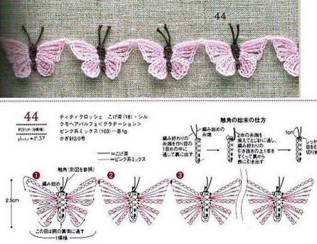 butterflies!! ♪ ♪ ... #inspiration_crochet #diy GB | Apliques ...