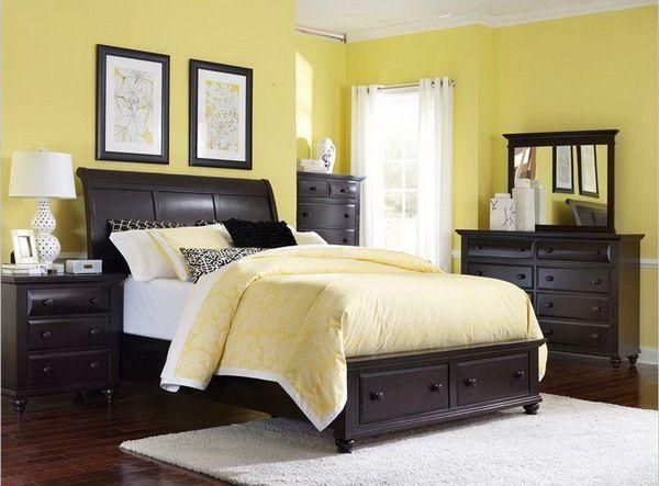 Yellow Bedroom Color featuring Black Wooden Bedroom Furniture Set ...