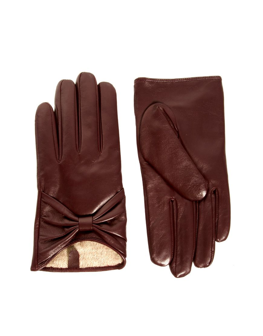 leather bow gloves with knit wool liningcute 26 for