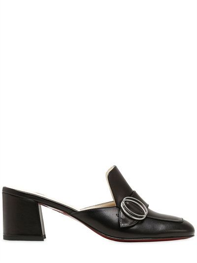 FRANCO COLLI - 60MM BUCKLED LEATHER MULES - NOIR