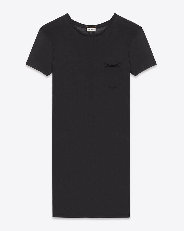 la negra a clásico seda Vestido camiseta Laurent de Saint en piedra lavada de 17Rvw