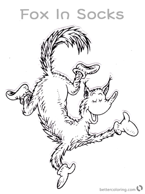 Fox In Socks From Dr Seuss Coloring Pages Fox Dancing Printable Dr Seuss Crafts Dr Seuss Coloring Pages Dr Seuss Printables Free